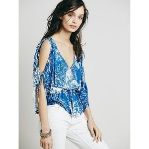 Free People Abracadabra Blue Backless Blouse